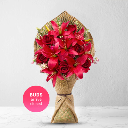 Image of Admirer - Premium Rose & Lily Bouquet