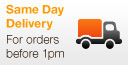 Same Day Delivery for orders before 1pm (1pm Mon-Fri/10am Sat)